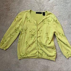 🍄express green plant cardigan